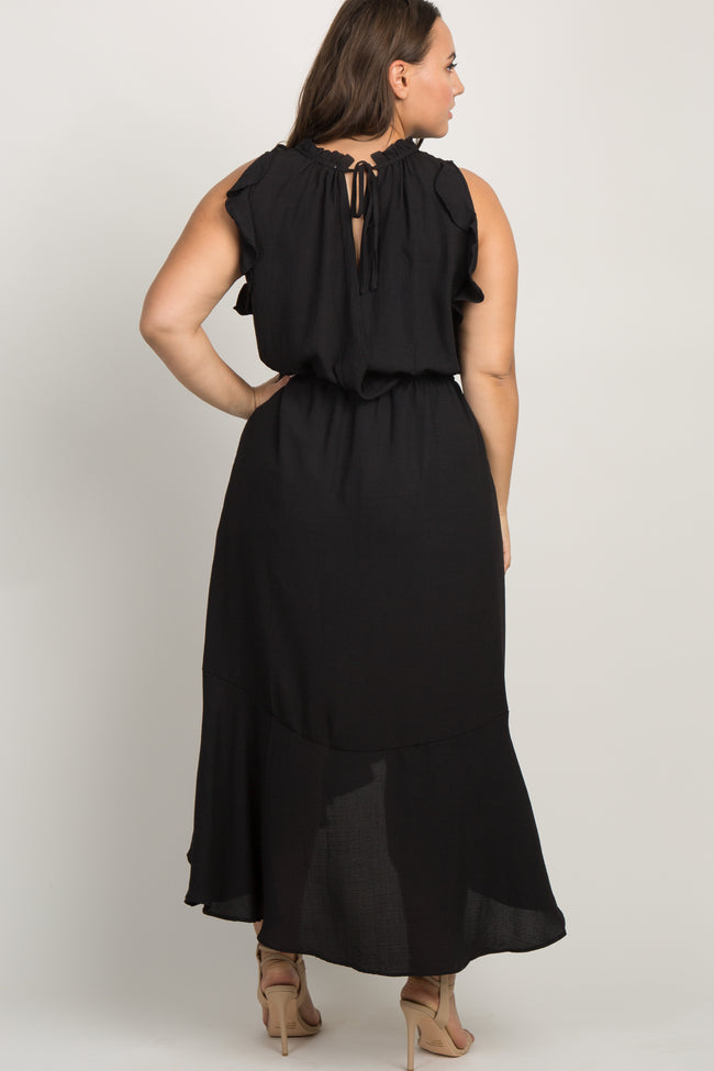 Black Flounce Trim Asymmetrical Plus Maxi Dress