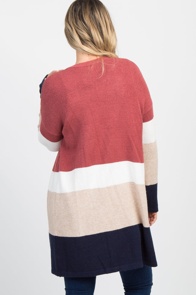 Red Long Knit Color Block Cardigan