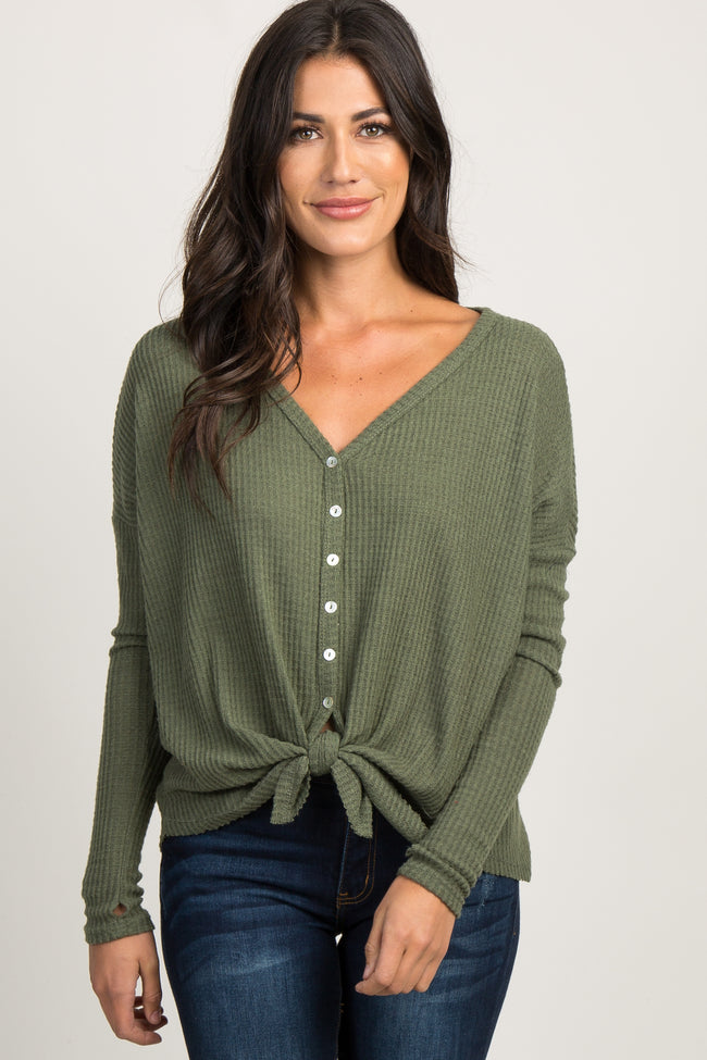 Olive Soft Waffle Knit Button Front Top