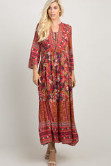 Red Printed Tie Front Maxi Dress