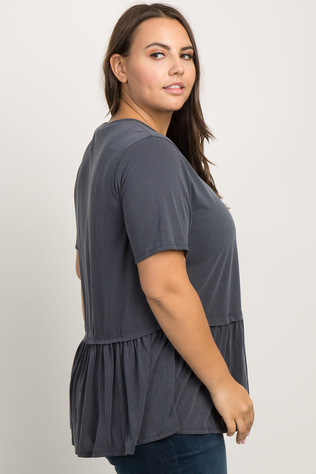 Charcoal Solid Raw Cut Peplum Plus Top