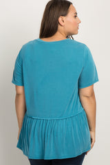 Teal Solid Raw Cut Peplum Plus Top