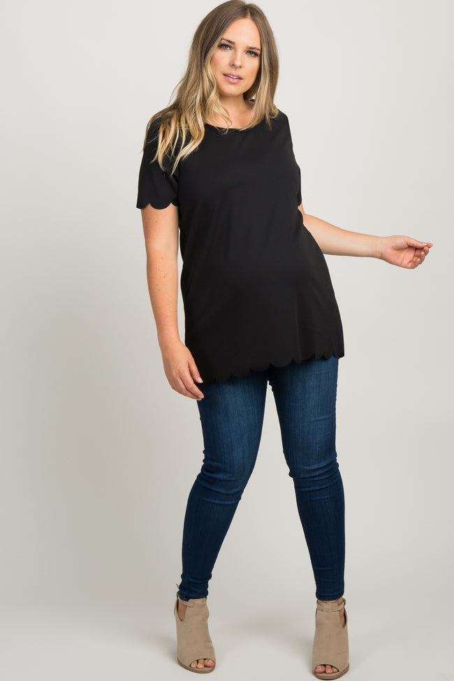 Black Solid Scalloped Trim Maternity Plus Top