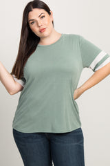 Light Olive Striped Sleeve Plus Top