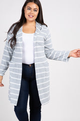 Heather Grey Striped Hooded Plus Cardigan