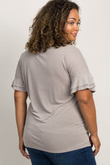 Mocha Double Ruffle Sleeve Maternity Plus Top