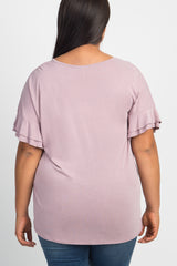 Mauve Double Ruffle Sleeve Plus Top