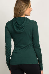Forest Green Active Funnel Neck Hooded Maternity Top