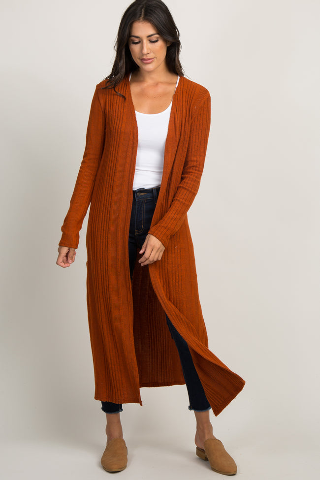 Rust Soft Knit Duster Cardigan