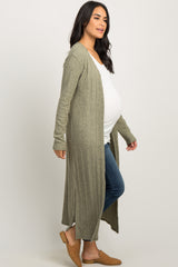 Green Soft Knit Maternity Duster Cardigan