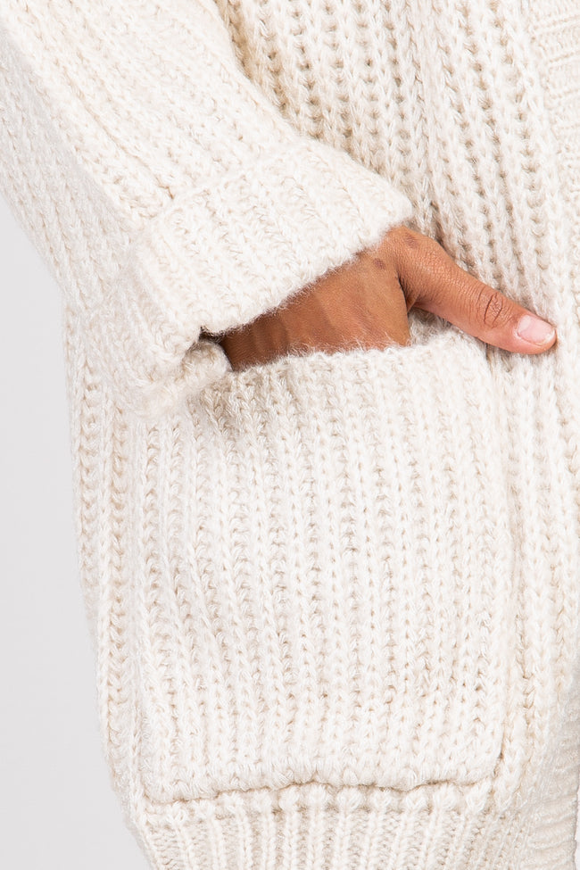 Cream Chunky Knit Cuffed Dolman Sleeve Cardigan