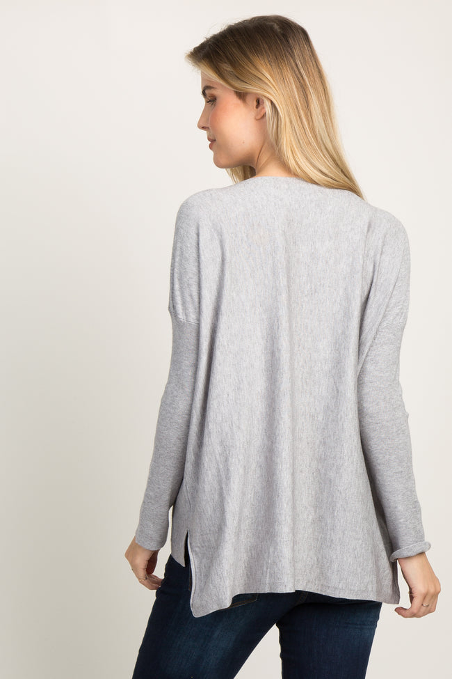 Heather Grey Long Dolman Sleeve Maternity Knit Top