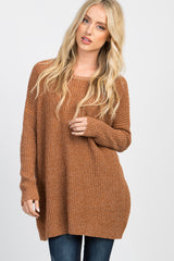 Camel Knit Cutout Back Sweater