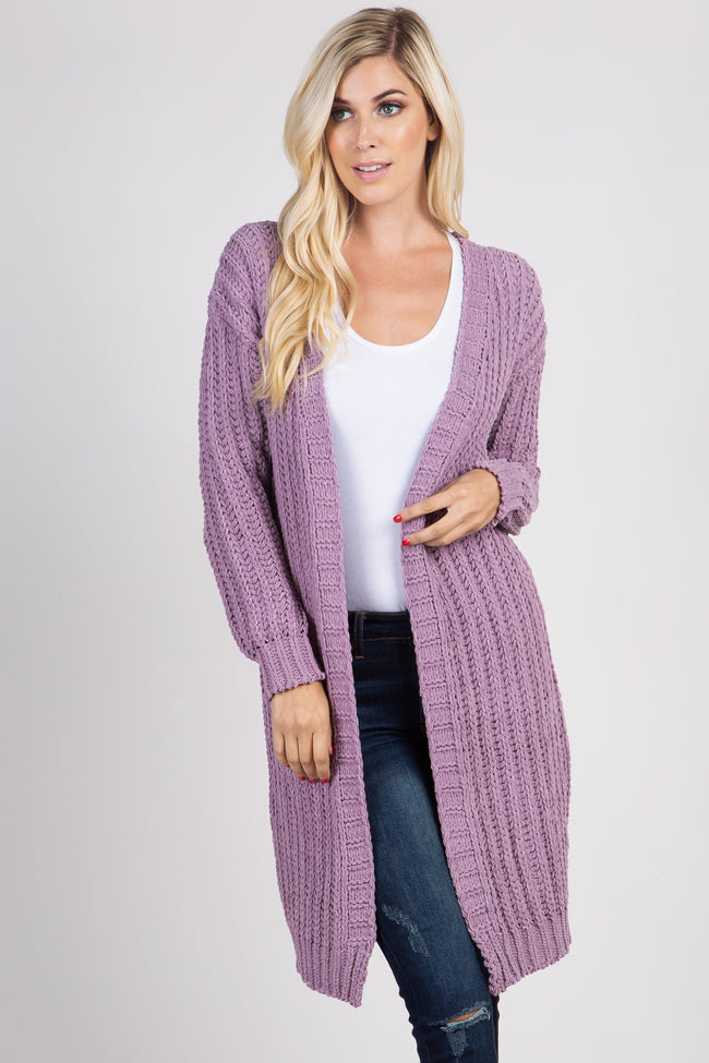 Lavender Basic Chenille Knit Cardigan