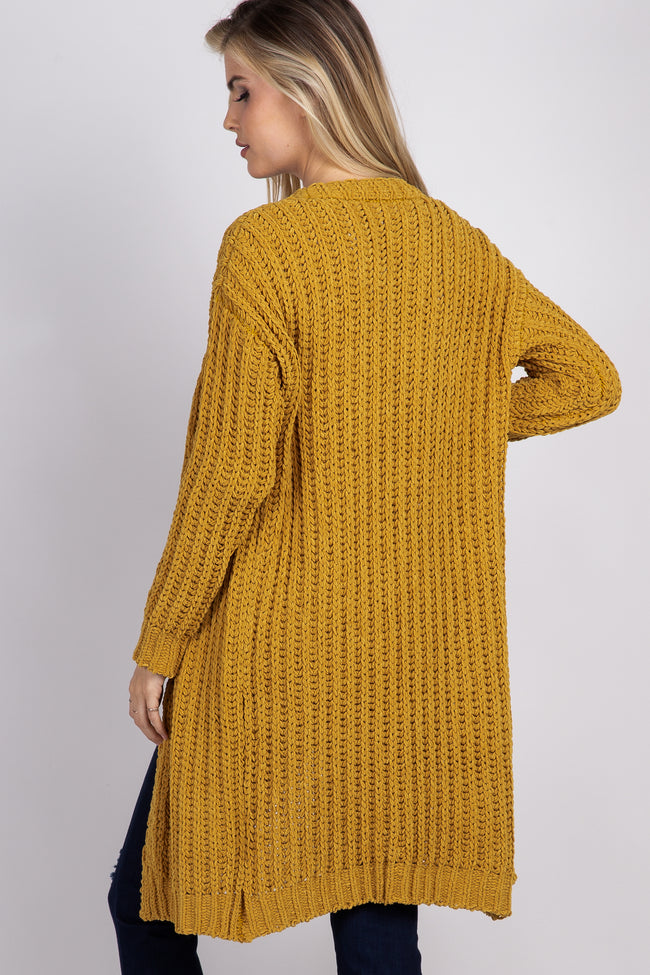 Yellow Basic Chenille Knit Cardigan