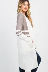 Ivory Colorblack Pocket Long Maternity Cardigan