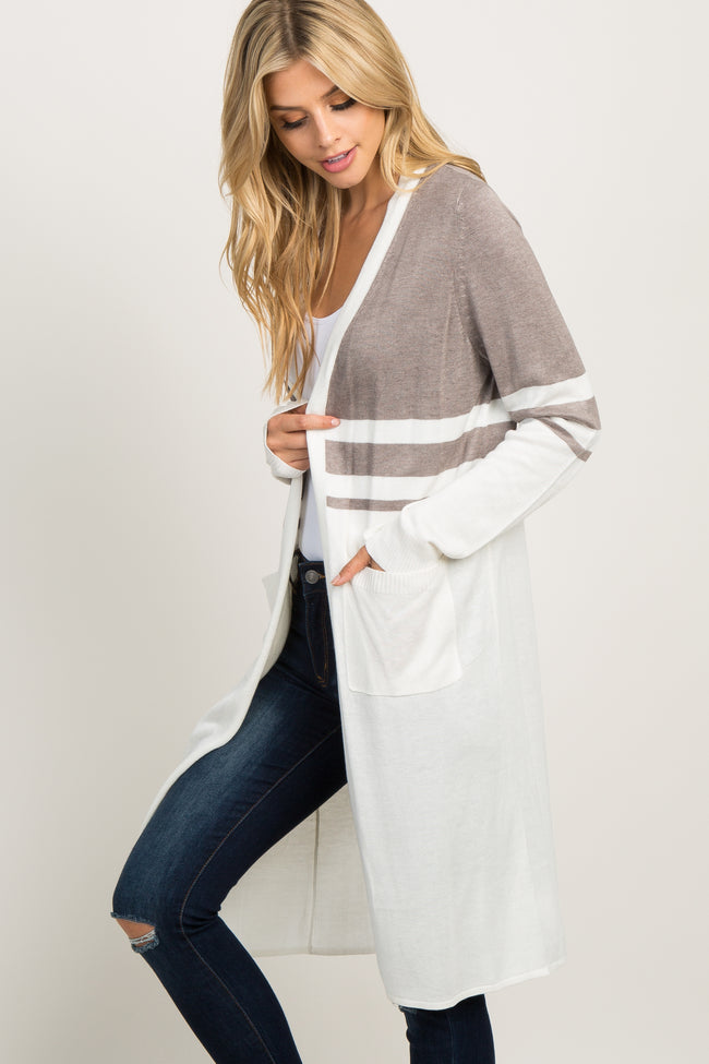 Ivory Colorblock Pocket Long Cardigan