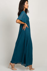 Teal Chiffon Bell Sleeve Maxi Dress