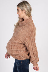Camel Cowl Neck Chenille Maternity Sweater