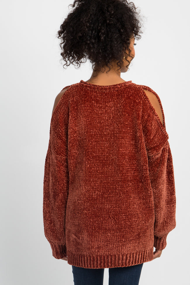 Camel Chenille Knit Cold Shoulder Sweater