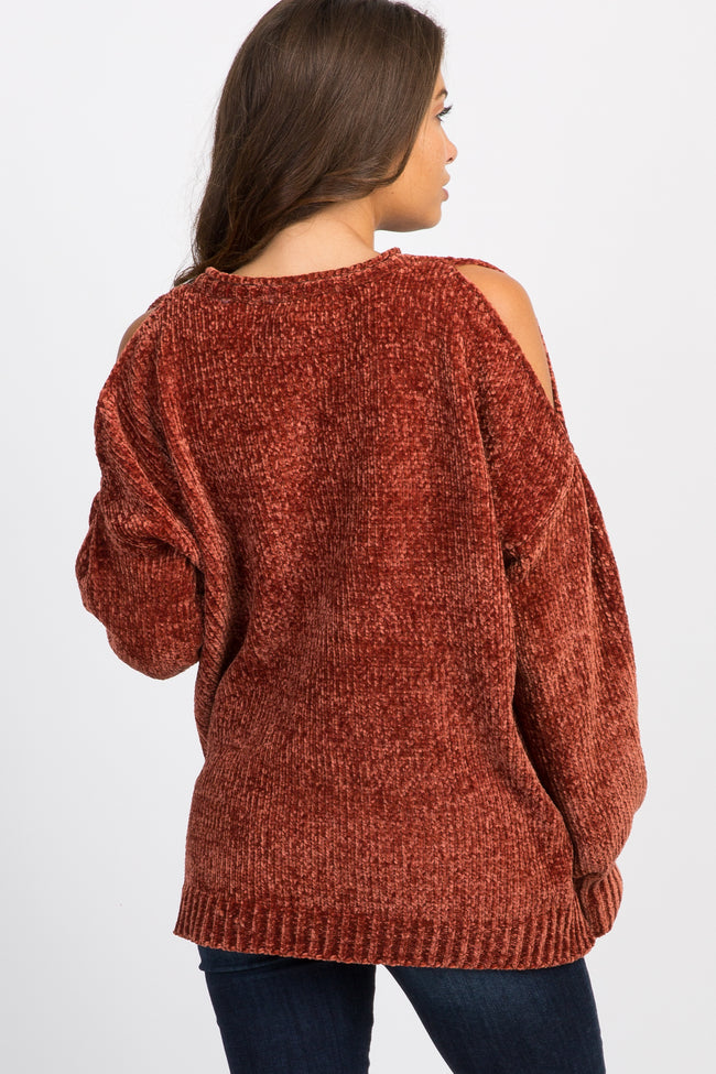 Camel Chenille Knit Cold Shoulder Maternity Sweater