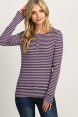 Purple Striped Button Front Maternity Top
