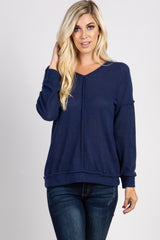 Navy Blue Long Sleeve Knit Top