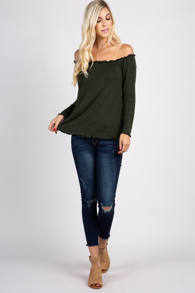 Olive Pinstriped Off Shoulder Ruffle Trim Top