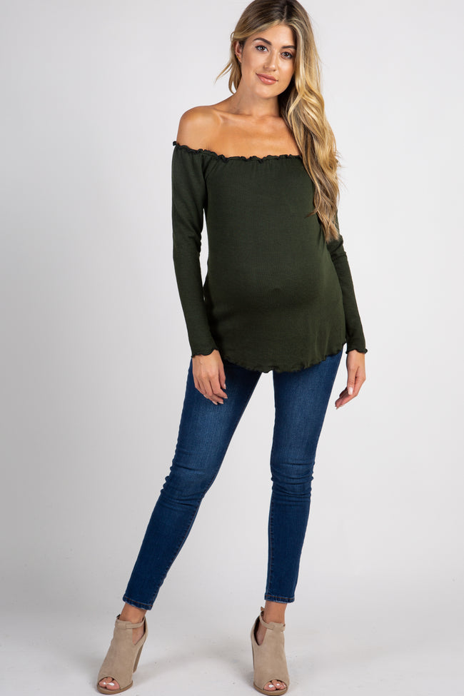 Olive Pinstriped Off Shoulder Ruffle Trim Maternity Top