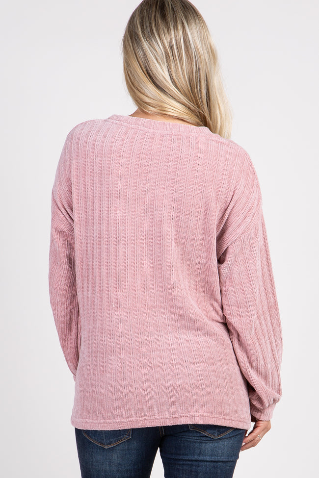 Pink Ribbed Cuff Sleeve Maternity Sweater Top