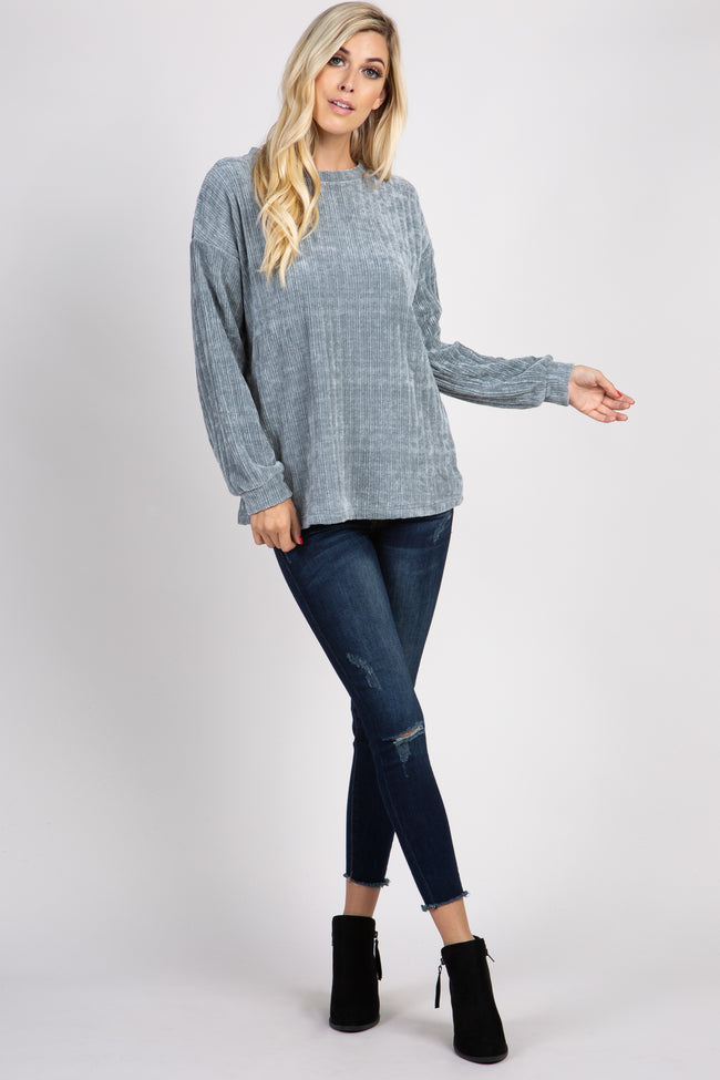 Grey Ribbed Cuff Sleeve Maternity Sweater Top