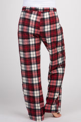 Red Plaid Drawstring Maternity Lounge Pants