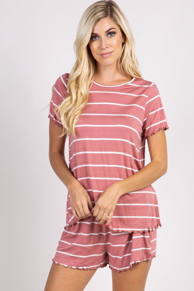 PinkBlush Mauve Striped Ruffle Trim Pajama Set