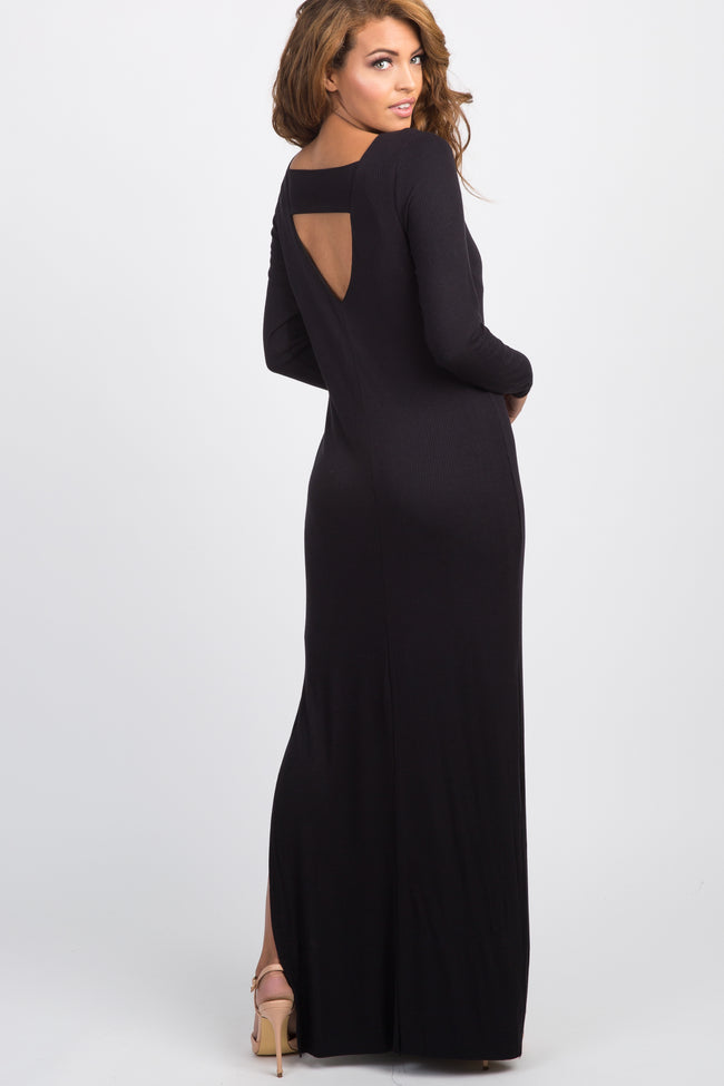 Black Ribbed Long Sleeve Open Back Side Slit Maxi Dress