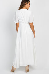 White Chiffon Bell Sleeve Maxi Dress
