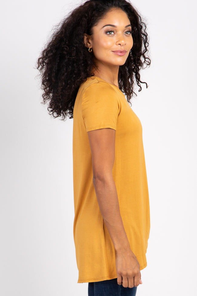 PinkBlush Mustard Solid Short Sleeve Knot Hem Top