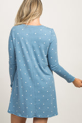 Blue Polka Dot Long Sleeve Maternity Sleep Dress