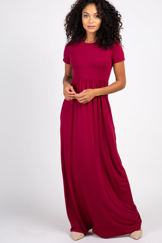 Burgundy Solid Side Pocket Maternity Maxi Dress