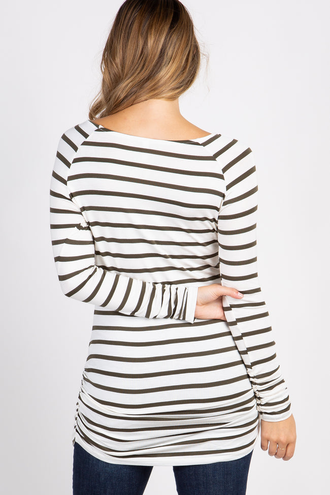 Olive Striped Ruched Maternity Tunic