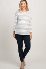 White Striped Dolman Sleeve Maternity Top