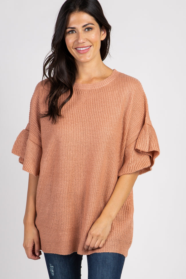 Pink Knit Ruffle Sleeve Sweater