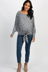 Heather Grey Polka Dot Dolman Sleeves Tie Front Maternity Top