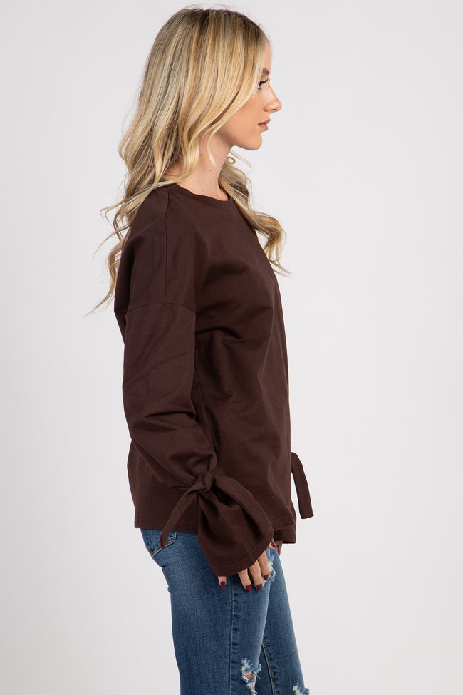 Brown Long Sleeve Tie Detail Top