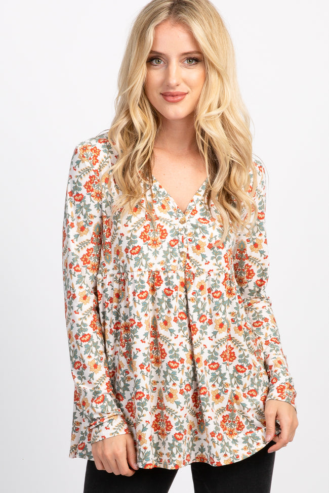 Ivory Floral Peplum Maternity Top