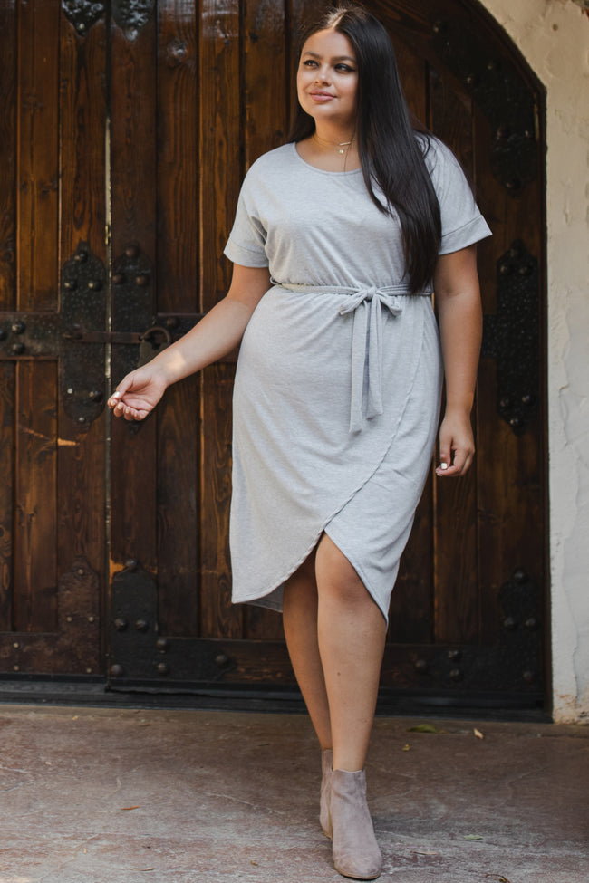 Heather Grey Sash Tie Wrap Hem Plus Midi Dress