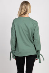 Green Long Sleeve Tie Detail Top