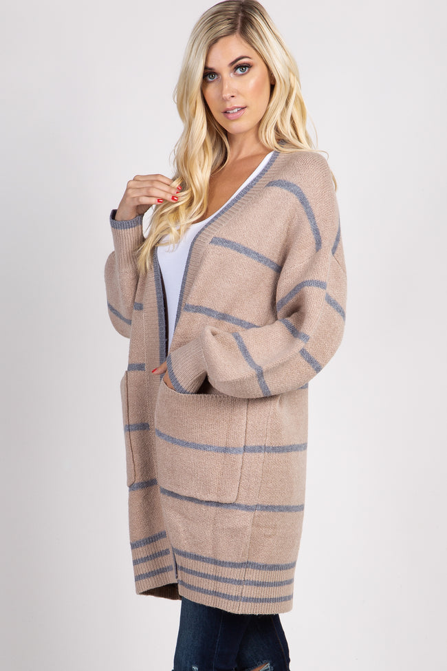 Taupe Striped Knit Puff Sleeve Cardigan