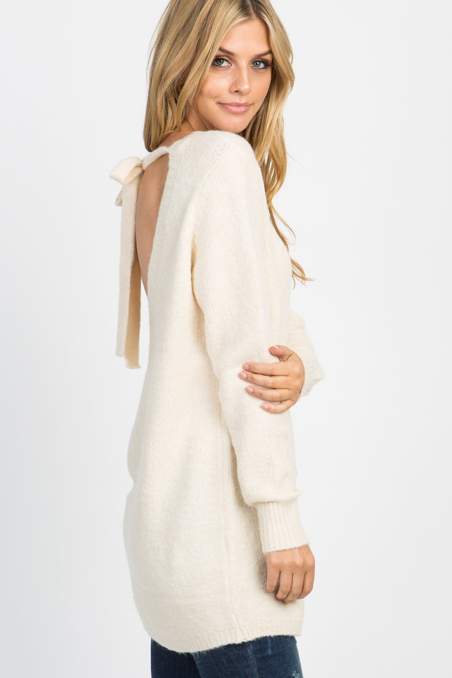 Ivory Knit Cutout Tie Back Sweater