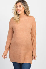 Peach Mock Neck Knit Maternity Sweater
