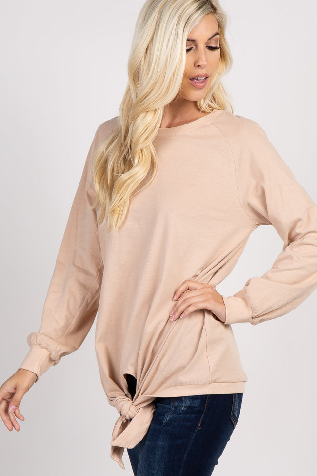 Beige Long Sleeve Front Tie Sweatshirt
